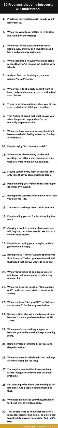 30 introvert problems - FunSubstance.com