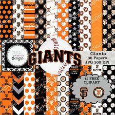 SF Giants Baseball Digital Paper Pack  30 by DigitalStudioDesigns