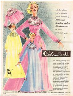 BALMORAL SLUMBERWEAR AD  NYLON GOWNS  Vintage Advertising 26 MARCH 1958 Original