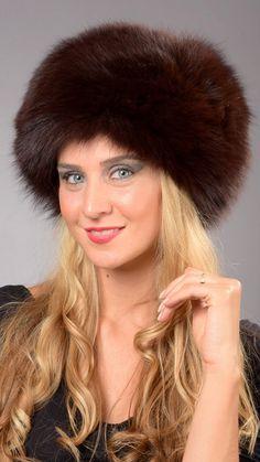 Cappello in volpe peken naturale  www.amifur.it