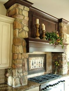 Stone Pillars Design Ideas, Pictures, Remodel, and Decor - page 4 Stone pillars framing kitchen cooking range Kitchen Hoods, Stone Kitchen, Kitchen Stove, Fireplace Mantels, Mantle, Fireplaces, Basement Fireplace, My Living Room, Beautiful Kitchens
