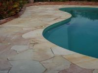 Outdoor with curved giving the pool a flowing look Cobblestone Pavers, Sandstone Pavers, Bluestone Pavers, Travertine Pavers, Granite Tile, Natural Stone Pavers, Paver Stones, Pool Coping Tiles, Pool Paving
