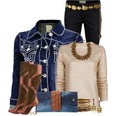 """Denim and Gold Contest"" by kginger on Polyvore"