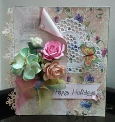 Happy Holidaysssss...yipeee. Handmade card. FB page- Handmade With Love By Paperarty