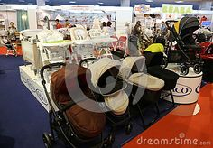 Photo about Strollers for newborns at Baby Boom show 2017 - exhibition for children from 0 to 7 years old and pregnant mothers, Bucharest, Romania. Image of child, newborns, brand - 99160199