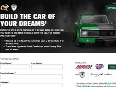 """Enter the Quaker State """"Build the Car of Your Dreams"""" Sweepstakes for a chance to win a 1972 Chevrolet C-10 Truck and a 2-night trip for two to Greenville, SC!"""