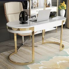 White/Black Office Desk Modern Gold Writing Desk with 2 Drawers Stainless Steel Legs Lacquer Oval Desk – Glass Office Desk Office Decor Professional, Modern Desk, White Desk Office, Home Office Design, Modern Office Desk, Work Office Decor, Desk Design, Glass Desk Office, White Gold Office