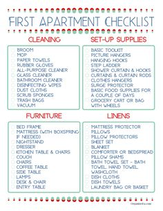 First Apartment Checklist - Organized 31 - - Knowing what you need to set up your first place doesn't have to be overwhelming when you have this free First Apartment Checklist. New Apartment Checklist, First Apartment Checklist, First Apartment Essentials, New Home Checklist, My First Apartment, Apartment Hacks, College Apartment Needs, Moving Checklist Printable, Apartment Must Haves