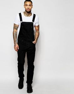 Image 1 of ASOS Denim Overalls In Black