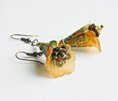 Foxgloves Orange Bohemian Flower earrings, orange Statement earrings, Boho Floral dangles, Boho wedding, Hippie, Gypsy