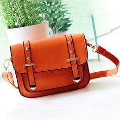Orange Faux Leather Stud Decor Shoulder Bag