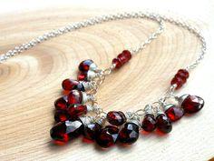 Garnet Statement Necklace, Red Gemstone Necklace Jewelry , Sterling Silver, Bib Necklace. $119.00, via Etsy.
