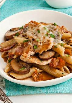 Chicken & Mushroom Penne Pasta – Tender chicken breast strips and sautéed mushrooms are added to a savory sauce and served with penne pasta in this quick and easy weeknight dish.