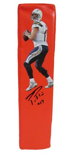 Philip Rivers Autographed San Diego Chargers Photo Football End Zone Touchdown Pylon, Proof Photo
