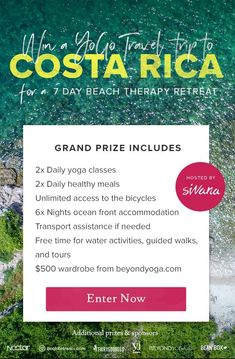 Win an YoGo travel trip to Costa Rica for a 7 day  Beach Therapy Retreat.