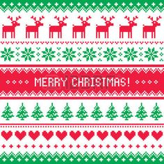 Merry Christmas pattern with deer - scandynavian sweater style photo