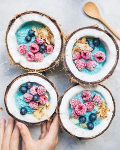 We're on Island Time w/ these Spirulina Coconut Smoothie Bowls w/ Frozen Berried. - We're on Island Time w/ these Spirulina Coconut Smoothie Bowls w/ Frozen Berried by Anett Velsber - Smoothie Bowl Vegan, Coconut Smoothie, Smoothie Blender, Fruit Smoothies, Healthy Smoothies, Smoothie Recipes, Shake Recipes, Healthy Breakfasts, Healthy Drinks