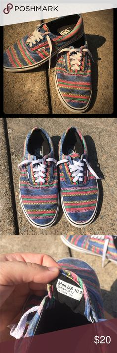 🌈Vans Authentic 10.5 Hippie DrugRug Rainbow Pride Great Condition. Comfortable and looks nice.  Feel free to message me with any questions or for more pictures.  Rainbow hippie Mexican blanket kinda print 10.5 in men's or 12 in women's Vans Shoes Sneakers
