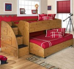 If you are struggling on what beds you can make for your kids or for your guest room without being boring, here are some double deck bed design ideas. Loft Bunk Beds, Bunk Bed Plans, Modern Bunk Beds, Bunk Beds With Stairs, Kids Bunk Beds, Diy Bunkbeds, Double Deck Bed, Double Loft Beds, Loft Stil