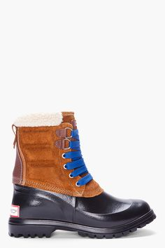 DSQUARED2 Tan Rubber leather Trim Rain boots