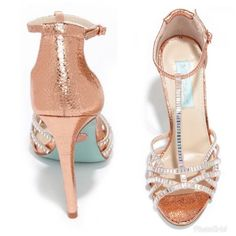 The Blue by Betsey Johnson Ruby Rose Gold Rhinestone Heels have satin straps topped in glimmering rhinestones, and a crackly metallic faux leather upper. Stilettos, Pumps Heels, Stiletto Heels, Prom Heels, Wedding Heels, Blue By Betsey Johnson, Rhinestone Heels, Ankle Strap Heels, Ankle Straps