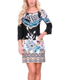 Another great find on #zulily! Black & Teal Floral Paisley Scoop Neck Dress #zulilyfinds