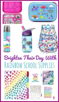 Rainbow Themed School Supplies are sure to brighten your child's day! Super cute water bottles, backpack and lunchboxes that are perfect for back to school! Learning Activities, Kids Learning, Activities For Kids, Back To School Hacks, Back To School Shopping, Easy School Lunches, Hasbro My Little Pony, Cute Water Bottles, Back To School Supplies