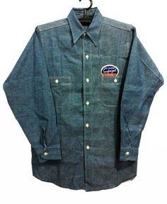 Vtg. 40s - 50's Sanforized Chambray shirt Sz.14 DEADSTOCK Fashion Details, Men's Fashion, Chambray Shirts, Cowboys Shirt, Japanese Denim, Men Clothes, Vintage Shirts, Work Wear, Indigo