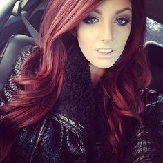 burgundy colored wavy hair