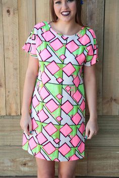 diamonds are forever dress - pink/lime