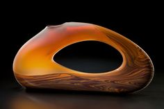 Contemporary art glass sculpture Trans Bolinas by Bernard Katz in cinnamon. #luxury #design #artglass