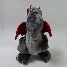 New Nici Dark Grey Dragon 12in 30cm Standing Plush Doll Toy Safe Baby Kids Gift #Nici