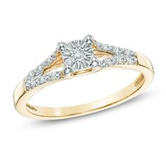 Diamond Accent Split Shank Promise Ring in Gold - View All Rings - Zales Vintage Wedding Jewelry, Gold Wedding Rings, Bridal Jewelry Sets, Diamond Promise Rings, Rose Gold Diamond Ring, Marquise Diamond, Shop Engagement Rings, Vintage Engagement Rings, Vintage Rose Gold