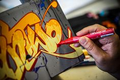 Graffiti artist CANTWO customizing a white Berlin Boombox with Montana BLACK and GOLDs plus ACRYLIC markers!