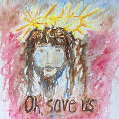 """I painted this in a coffee shop after learning that """"Hosanna"""" means """"O, save!"""" Painting the face of Jesus seems so insane but I just felt compelled to capture what was in my heart on paper.  #watercolor #waterbrush #Jesus #Easter #maundythursday #hosanna #saveus #myfaith #kingofkings"""