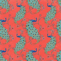 Silkscarf peacock coral design, by Carrie Max