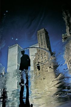 "spaceintruderdetector: "" Ernst Haas -1975-Twin Towers Reflection, NY 1975 """