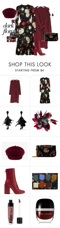"""""""Dark but not to much"""" by claire86-c ❤ liked on Polyvore featuring Dolce&Gabbana, Oscar de la Renta, Marni, Prada, Gucci, Petar Petrov, Lime Crime, Wet n Wild, Marc Jacobs and Huda Beauty"""