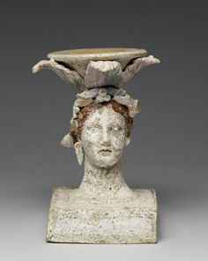 Incense burner in the form of a female head. Terracotta with paint. Greek. 3rd century B.C. | The Walters Art Museum