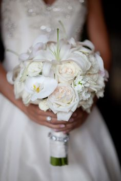 White Bride's Bouquet for an Asheville Wedding. Flowers by Flower Gallery of Asheville