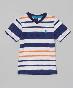 Another great find on #zulily! Marina Blue Stripe V-Neck Tee - Kids & Tween #zulilyfinds