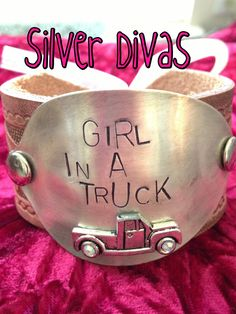 Girl in a truck vintage spoon and recycled western belt bracelet $35 Find us on Facebook!