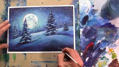 How to easy paint winter! NIGHT WINTER CHRISTMAS LANDSCAPE. Great moon a...