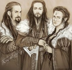 Sons of Thráin II: Frerin, Thorin II Oakenshield and Dís.