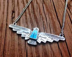 Thunderbird Necklace Native American Necklace Turquoise Necklace Tribal Southwestern Thunder Bird Country Indian Silver Thunderbird Necklace
