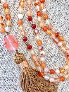 Carnelian agate mala necklace orange white mala necklace yoga mala meditation necklace gemstones mala tassel necklace 108 prayer beads by Katiaicrafts on Etsy