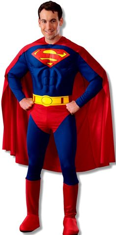 Superman Deluxe Adult Costume - This deluxe costume includes Red and blue muscle chest jumpsuit with attached boot tops belt and cape.  sc 1 st  Pinterest & 10 best Superhero Costumes images on Pinterest | Adult costumes ...