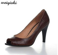 Office Ladies, Leather Shoes, Peep Toe, Free Shipping, Stone, Sandals, Lady, Brown, Heels