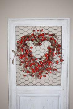 heart wreath on chicken wire frame. love.