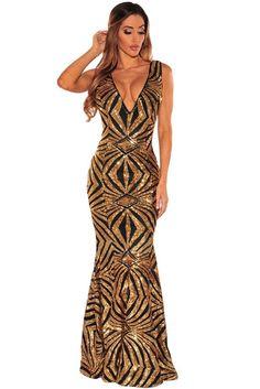 Black Gold Sequins Gown LAVELIQ